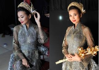 Siêu mẫu Thanh Hằng mang 50 lượng vàng ròng lên sân khấu