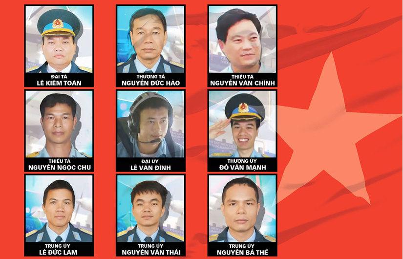 Các chiến sĩ hy sinh trong vụ máy bay Casa rơi ngày 16/6