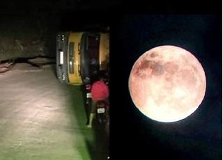 Tài xế lãng mạn mải ngắm siêu trăng, xe tải