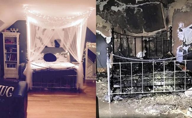 Căn phòng bị cháy rụi hoàn toàn sau vụ điện thoại phát nổ