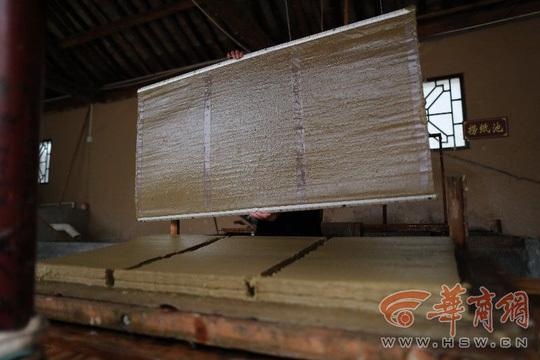 Những tấm giấy làm từ phân gấu trúc. Ảnh: HSW