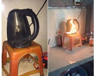 Bình đun siêu tốc chập điện cháy thành than, hiểm họa khôn lường