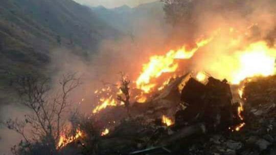 Máy bya rơi tạo nên vụ cháy lớn nên cơ hội sống sót bằng 0. Ảnh: SkyNews
