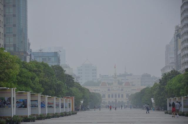 sương mù bao phủ phố đi bộ Nguyễn Huệ