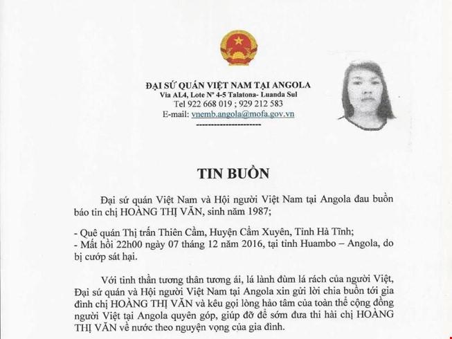 Thông báo của Đại sứ quán về trường hợp người Việt Nam ở Angola bị cướp sát hại