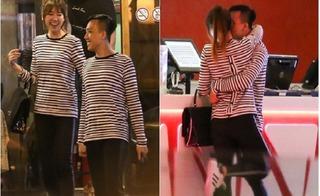 Hari Won và Trấn Thành diện đồ đôi âu yếm nhau trong rạp chiếu phim