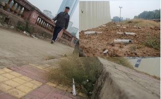 Rợn người cảnh kim tiêm dính máu la liệt sau công trình đường sắt trên cao đoạn Kim Mã