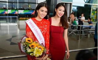 Lệ Hằng rạng rỡ chia tay Phạm Hương đi thi Hoa hậu Hoàn vũ 2016