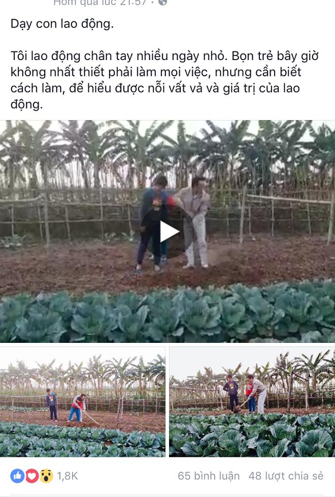 Chủ tịch FLC dạy con cách làm vườn 1
