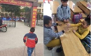 """Ngày đầu trở lại lớp của cậu bé bị gãy chân ở trường Nam Trung Yên: """"Tối hôm trước thức rất muộn vì háo hức"""""""