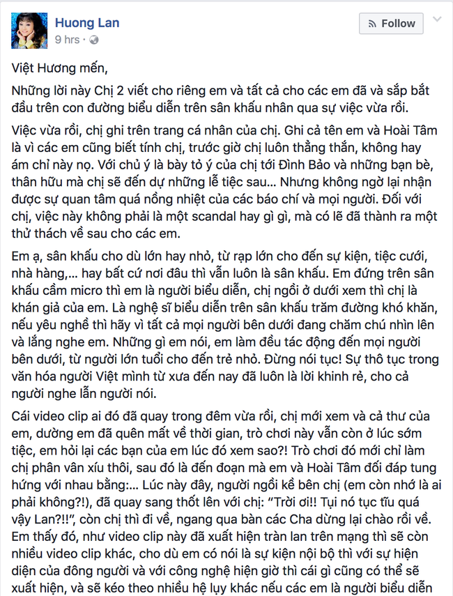 Vân Dung nói về Việt Hương 3