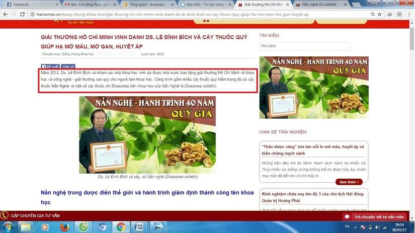 Công ty CPPT thảo dược Việt Nam gian dối để trục lợi từ Hamomax 2