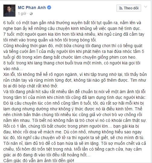 MC Phan Anh bị xâm hại tình dục và cũng đi xâm hại khi còn nhỏ 1