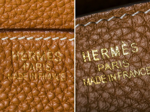 Tem nhãn trên mặt túi Hermes Birkin