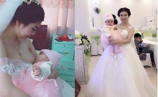 Cô dâu Việt kéo váy cho con bú trong ngày cưới hút gần 9.000 like sau vài giờ đăng tải