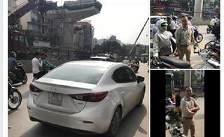 Gây tai nạn, tài xế ôtô ném chìa khóa xe máy của người phụ nữ vào công trường