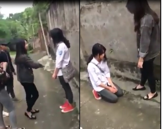 Nữ sinh lớp 11 bắt đàn em quỳ xin lỗi 1