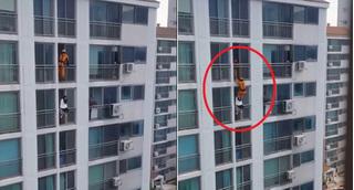 Không chỉ ở Hàn, Trung Quốc cũng xuất hiện cú đạp cứu mạng của anh chàng cứu hỏa