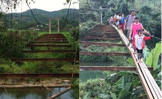 Dân mạng rần rần chia sẻ hình ảnh mới nhất về cây cầu treo không mặt sàn ở Hòa Bình