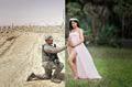 Xúc động hình ảnh anh bộ đội ở nơi xa chỉ có thể âu yếm bụng bầu của vợ qua photoshop