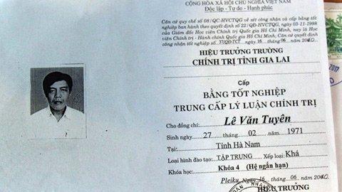Trường Chính trị tỉnh Gia Lai sẽ ra quyết định thu hồi bằng tốt nghiệp trung cấp lý luận chính trị đối với phó bí thư dùng bằng giả