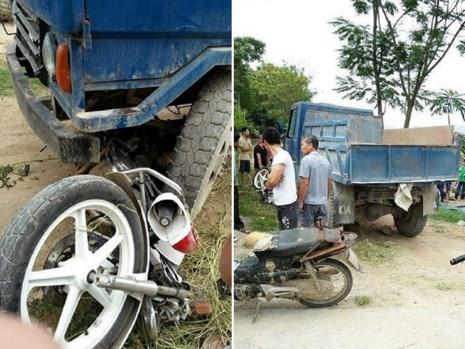 Xe công nông đâm dẹp dúm xe của CSGT