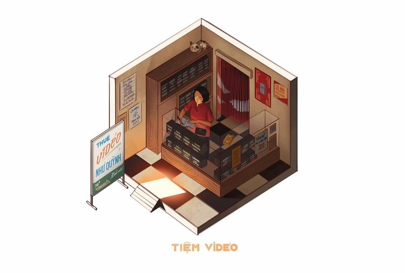 Sài Gòn 3 mét vuông với hình ảnh tiệm video bên đường
