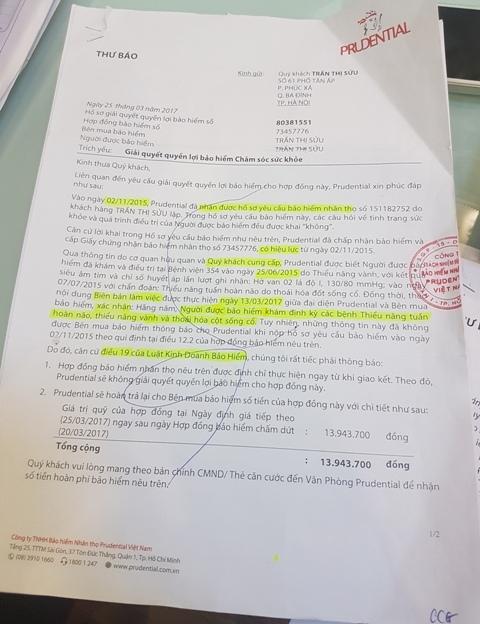 Văn bản yêu cầu chấm dứt hợp đồng của công ty Bảo hiểm Prudential gửi cho bà Trần Thị Sửu.