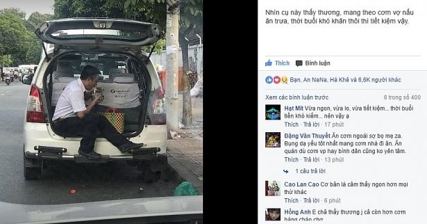 tài xế taxi ngồi cốp ăn cơm