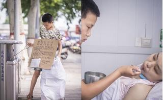Bé trai đội nắng 40 độ bỏng rát đi thu nhặt phế liệu kiếm tiền giúp mẹ kế chữa bệnh