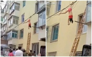 Bồ nhí mặc đồ lót treo thân lủng lẳng trên dây điện vì trốn chạy bà cả