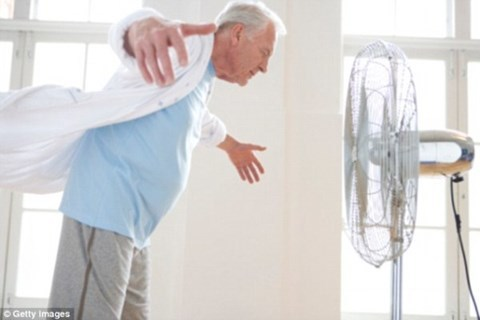 Người già dùng quạt điện