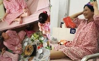Đi đẻ vui hơn bao giờ hết: Mẹ bầu thổi bánh sinh nhật, ngồi ăn lẩu trong phòng chờ sinh