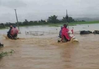 Điện Biên ngập nặng sau trận mưa chiều nay