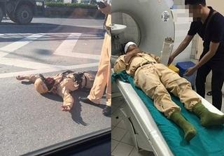 CSGT bị đâm trọng thương trên cầu Thanh Trì khi nhắc nhở xe máy đi sai làn đường