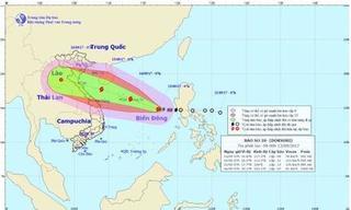 Cơn bão số 10 mạnh lên và hướng thẳng vào Bắc Trung Bộ