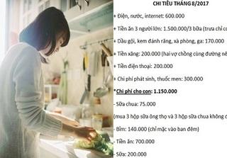 Mẹ bỉm chia sẻ chi tiêu 4 triệu/tháng cho 4 người, cư dân mạng