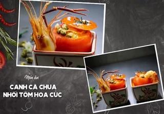Mỹ nhân vào bếp: Canh cà chua nhồi tôm hoa cúc nóng hổi cho ngày mưa