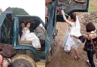 Đám cưới ở Hòa Bình khiến dân mạng thích thú với màn rước dâu bằng... xe tải
