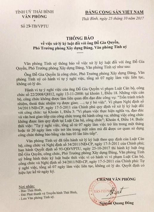 Thái Bình: kỷ luật Phó Phòng Xây dựng Đảng 2