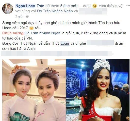 Hoa hậu Thu Hoài gửi lời chúc mừng đến đàn em. Cô cũng khâm phục nghị lực của Khánh Ngân khi đi thi một mình, không có chuyên gia trang điểm, ê-kíp hỗ trợ mà vẫn được danh hiệu cao nhất.