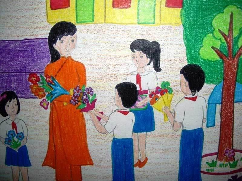 Bức tranh vẽ ngày 20/11 tại Việt Nam tuyệt đẹp dành tặng thầy cô10