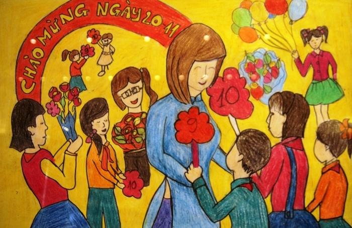 Bức tranh vẽ ngày 20/11 tại Việt Nam tuyệt đẹp dành tặng thầy cô7