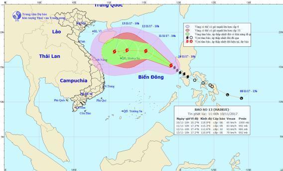 Thông tin về cơn bão số 13