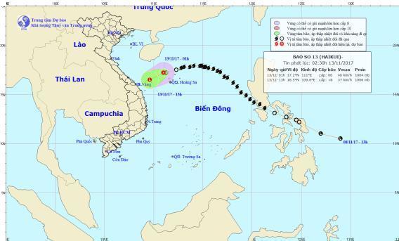 Cơn bão số 13 suy yếu thành áp thấp nhiệt đới trên biển Đông