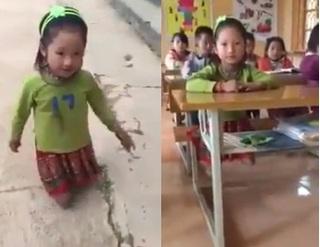 Rơi nước mắt với hình ảnh bé gái cụt 2 chân leo bậc thềm vào lớp học