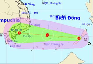 Áp thấp nhiệt đới mạnh lên thành bão số 14 trên biển Đông, nhằm hướng Nam Trung Bộ