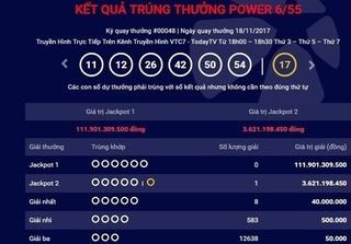 Kết quả xổ số Vietlott hôm nay 19/11: Thêm người trúng hơn 3,6 tỷ giải Jackpot 2
