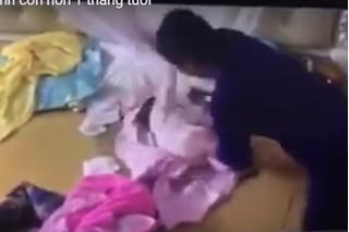 Hội mẹ bỉm sữa phẫn nộ khi xem clip người giúp việc bạo hành dã man bé hơn 1 tháng tuổi