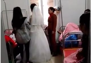 Sinh con được 2 ngày, sản phụ hóa cô dâu xinh đẹp được đón về làm lễ cưới